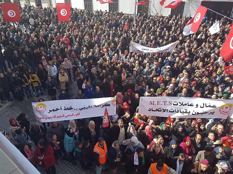 بالصور: تجمّع عمالي ضخم في سوسة بحضور نور الدين الطبوبي