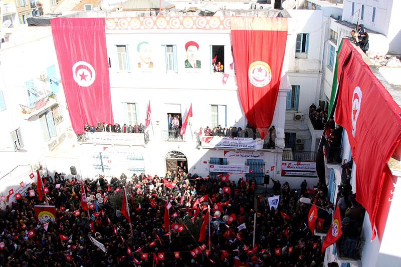 عودة بالصور على التجمّع والمسيرة الحاشدة للإضراب العام