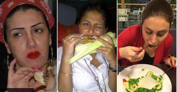صور محرجة لنجمات عربيات لحظة تناولهن الطعام ونسيانهن لأنوثتهن