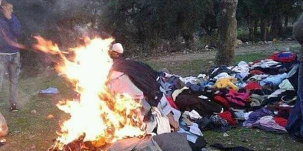 Photo du jour-Aأ¯n Soltane brأ»le les vأھtements des aides : Pas de pitiأ© pour les pauvres… mais des droits