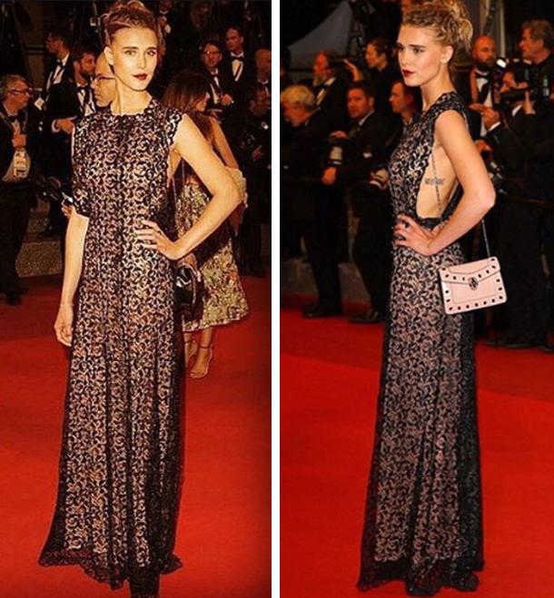 L'actrice Gaia Weiss habillée par Azzedine Alaïa au festival de Cannes