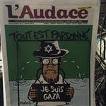 La Une de l'Audace aujourd'hui : Je suis Gaza, un clin d'œil à Charlie