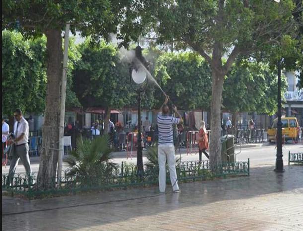 بالصور: غسل شارع الحبيب بورقيبة بالعاصمة