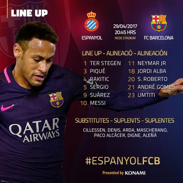 تشيكلة برشلونة بديربي كاتالونيا أمام إسبانيول