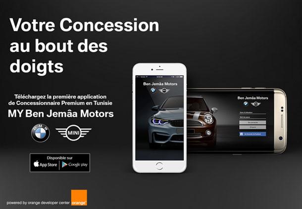 Ben Jemâa Motors lance la 1ère application Concessionnaire Auto en Tunisie,  en partenariat avec Orange Developer Center