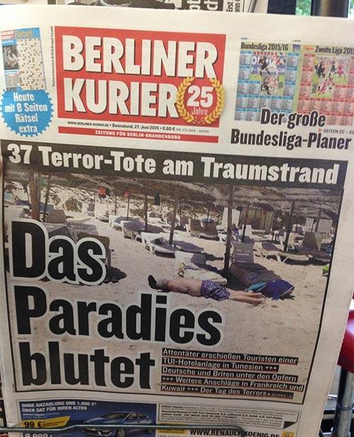 'Le paradis saigne' titre le Berliner Kurier