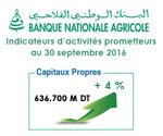 Banque Nationale Agricole : Indicateurs d'activités prometteurs au 30 septembre 2016. .