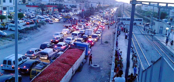 Photo du jour-retour de la plage : Bouchon à l'entrée de Tunis