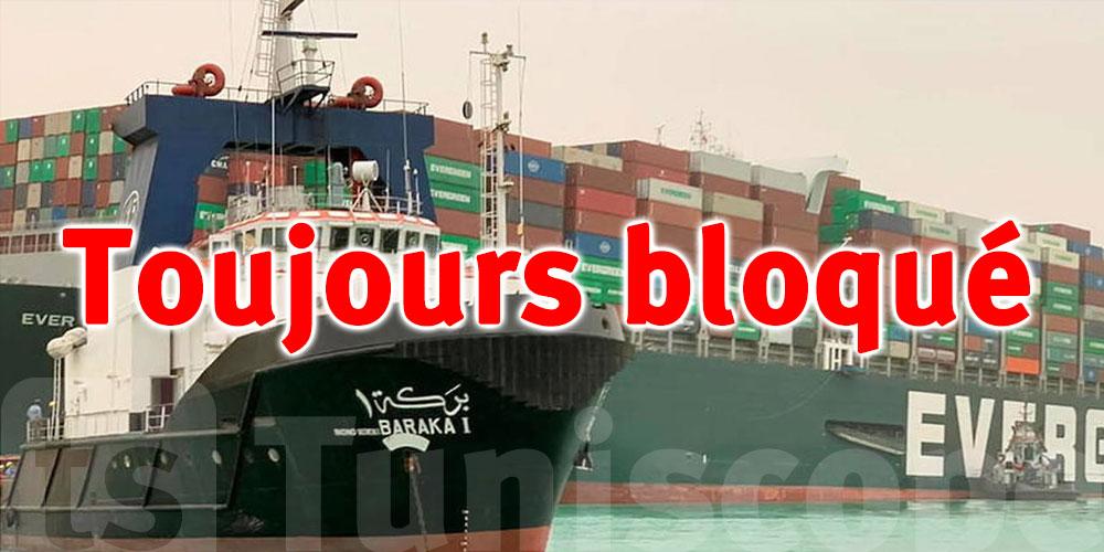Le canal de Suez toujours bloqué à cause d'un porte-conteneurs échoué