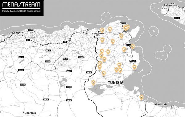 Image du jour : Carte des protestations actuelles en Tunisie