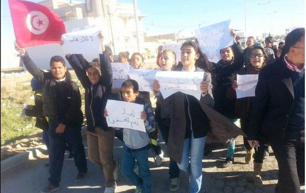 Marche de collégiens à Kairouan, contre le terrorisme