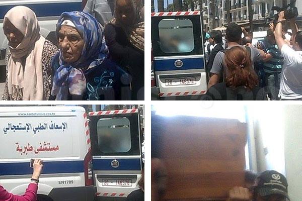 بالصّور : وصول جثمان الراحلة نجيبة الحمروني إلى مقرّ نقابة الصحفيين