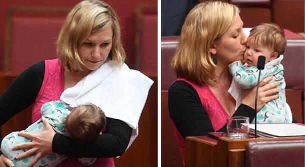En photos et vidéo: Une élue australienne allaite son bébé pendant son allocution au Parlement