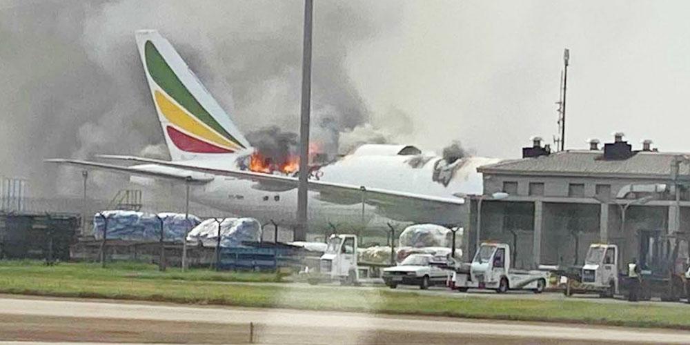 En vidéo : Un avion d'Ethiopian Airlines prend feu à Shanghai