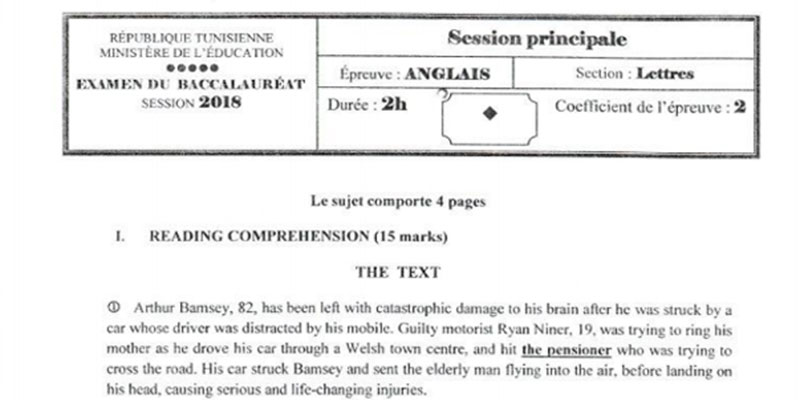 En photos : Le sujet de l'épreuve d'anglais de la section Lettres