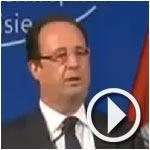 Coupure de l'électricité à la montée de F.Hollande sur le podium pour son allocution à l'UTICA