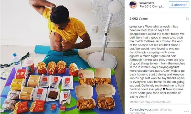 En photo : Un athlète s'offre un fast-food de 8.000 calories après son élimination