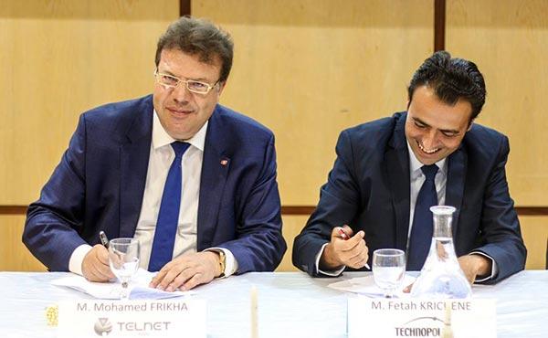 Cérémonie de signature d'un protocole de partenariat entre technopole de Sfax, Telnet-Inc et airbus safran Launchers