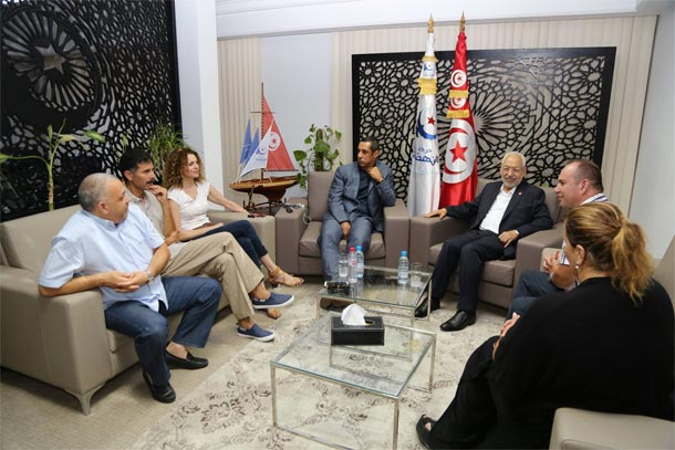 Majdouline Cherni au cœur d'une rencontre entre Ghannouchi et des figures du sport tunisien