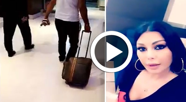 بالفيديو..هيفاء وهبي مرعوبة بعد سرقة حقيبتها بمطار القاهرة