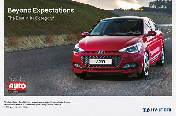 Hyundai i20, élue meilleure voiture de sa catégorie, selon le magazine automobile Allemand de référence Auto Zeitung