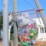 Photo du jour : La poubelle en filet de pêche, une création 100%  kerkennienne