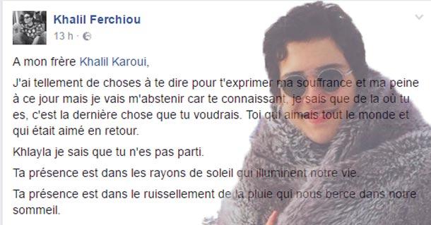 La lettre poignante de khalil Ferchiou, le compagnon du fils de Nabil Karoui