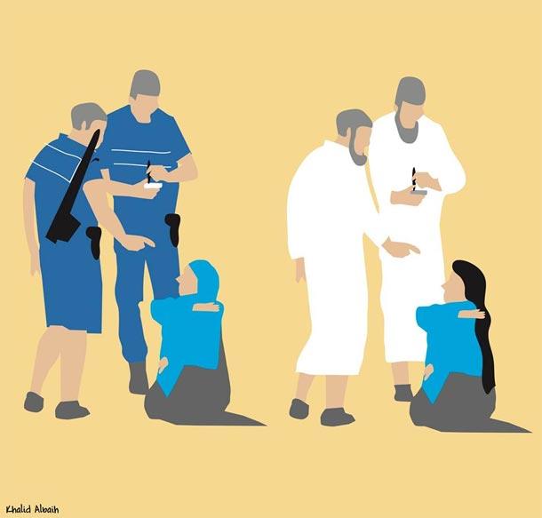 Caricature : Se couvrir ou se découvrir les femmes prises entre le marteau et l'enclume