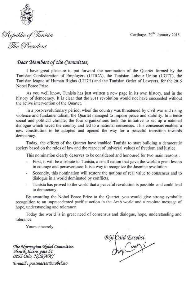 Exclusif : La lettre de Béji Caid Essebsi au Comité Nobel pour appuyer la candidature