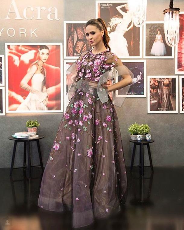 En photos : Leila Ben Khalifa fait sensation avec une jolie robe signée Reem Acra