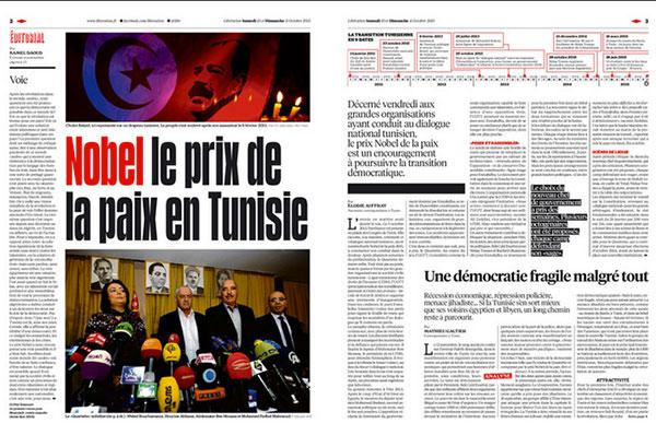A la une du magazine Libération : Nobel de la paix : Tunisie Tiens Bon !
