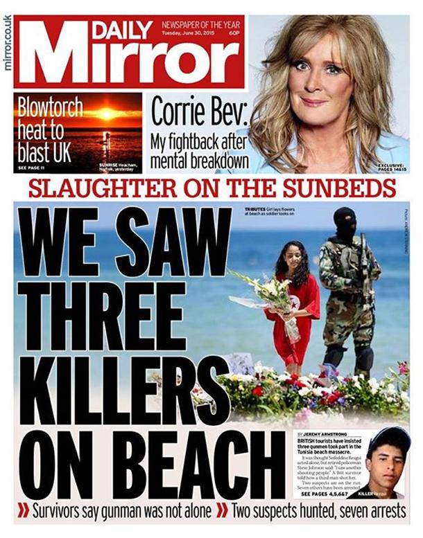 En Photo : La couverture du Daily Mirror parle de 3 tireurs à Sousse