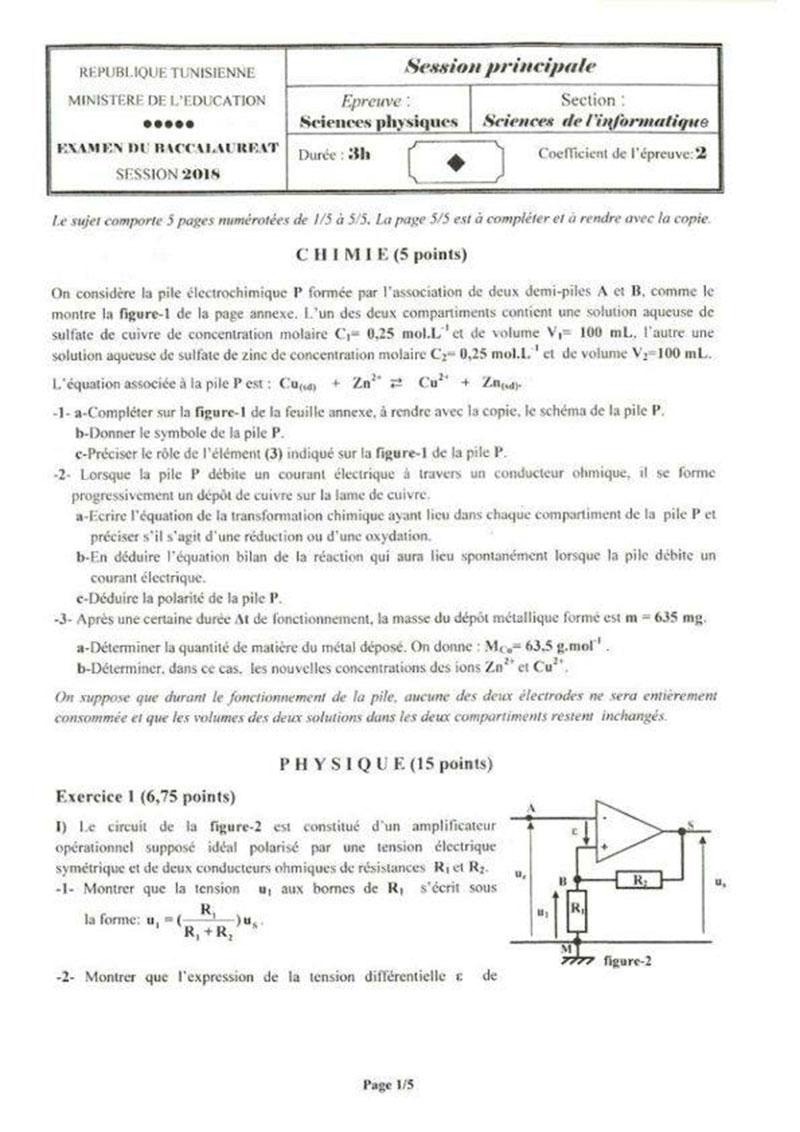 Bac 2018 Le Sujet De L Epreuve De Sciences Physiques De La
