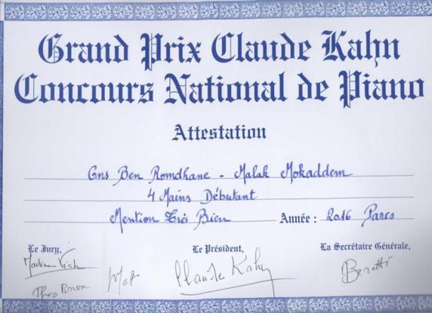 A 7 ans Ons Ben Romdhane et Malek Mokaddem décrochent le 3ème Prix Claude Kahn Paris 2016