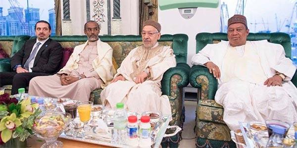 مع الرئيس الأفغاني و الجابوني وسعد الحريري، راشد الغنوشي يحضر حفل افطار رمضاني بمكة المكرمة