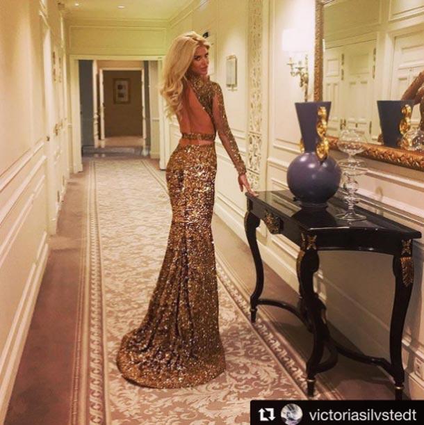 En photo : La belle Victoria Silvstedt dans une sublime robe signée Ali Karoui