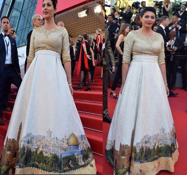 وزيرة إسرائيلية ترتدي فستانا عليه صورة القدس في مهرجان كان السينمائي