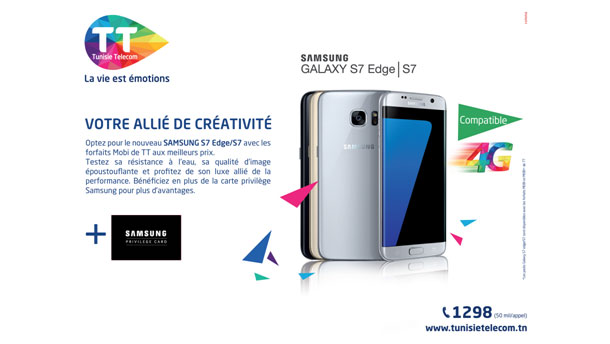 Chez Tunisie Telecom  Optez pour le Samsung Galaxy S7 Edge