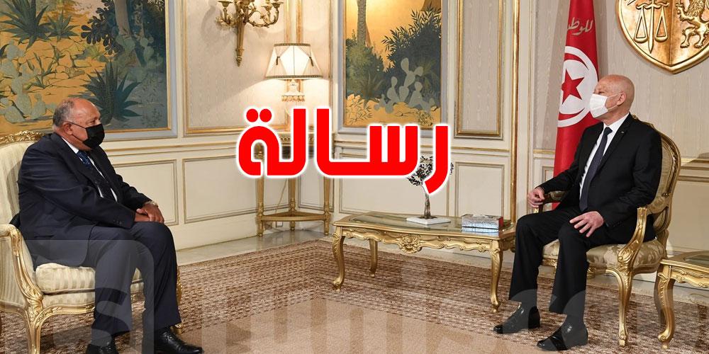بالفيديو: وزير الخارجية المصري ينقل رسالة لقيس سعيد