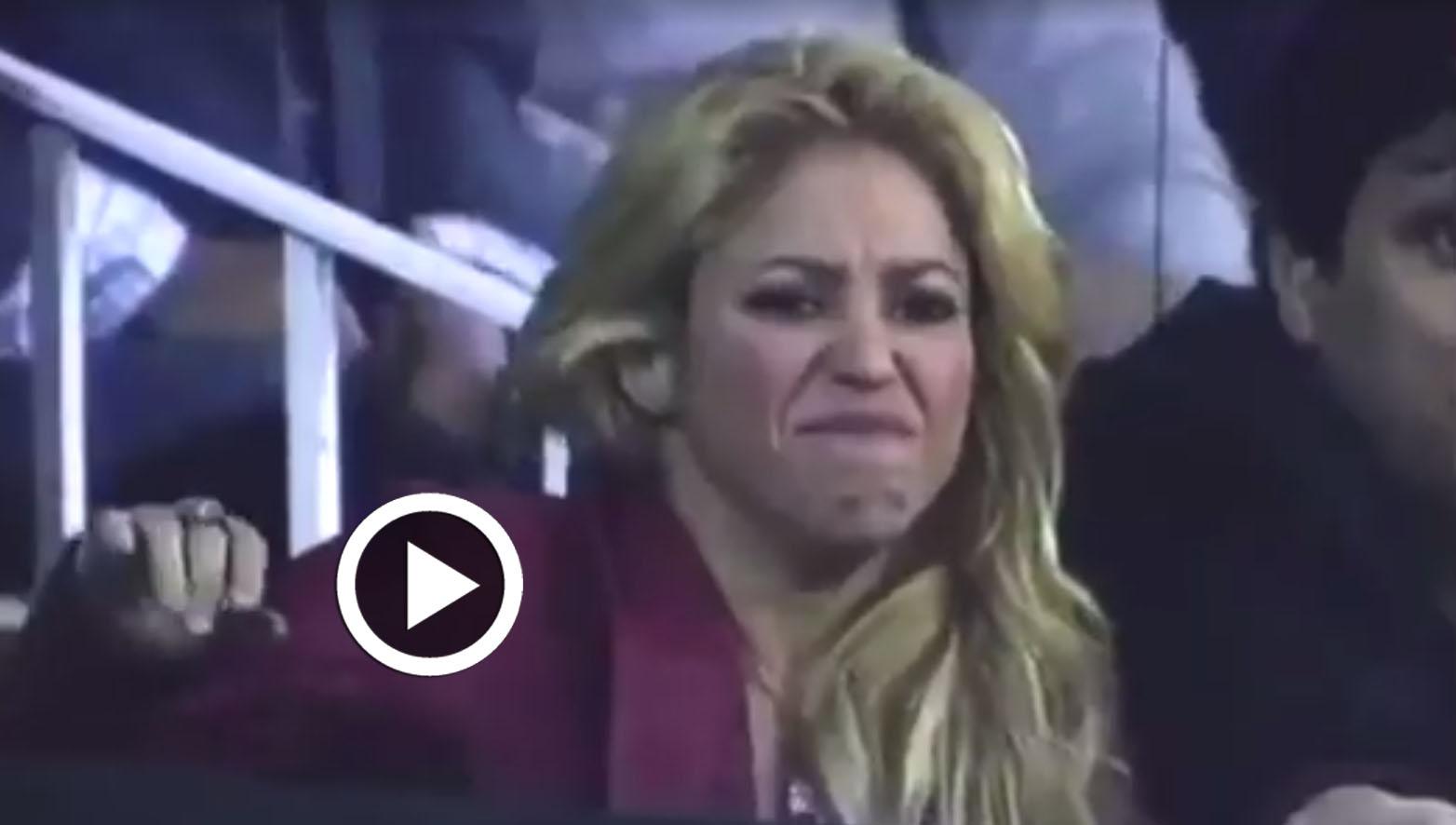 بالفيديو: رد فعل غريب لـ''شاكيرا'' خلال تشجيعها لزوجها في مباراة الكلاسيكو