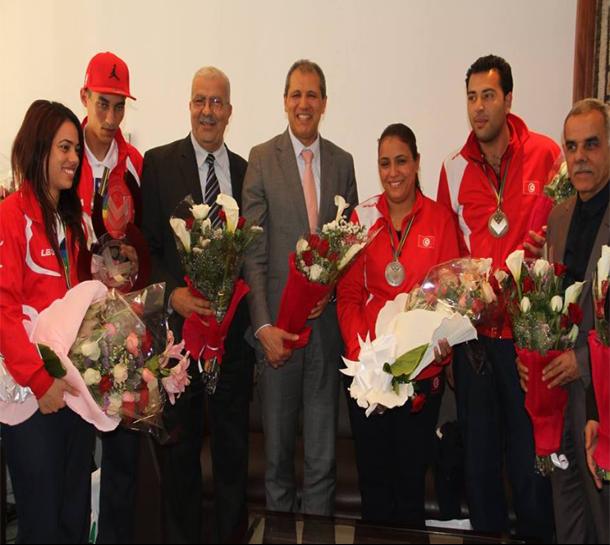 استقبال أبطال تونس المحرزين على ميداليات في بطولة العالم للكرة الحديدية الحرة