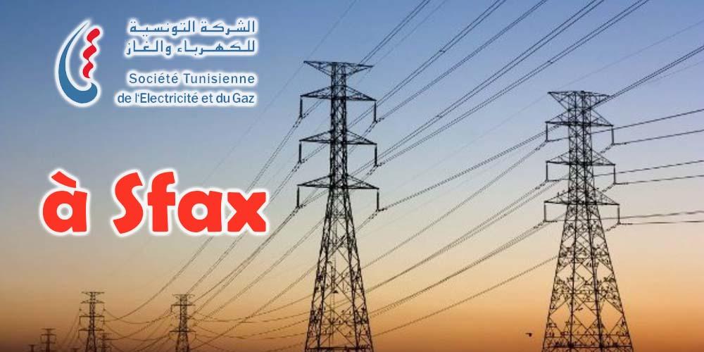 Des coupures du courant électrique demain à Sfax