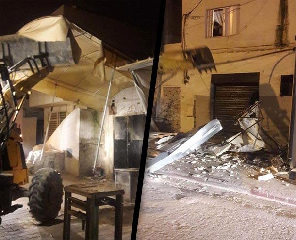 En photos : Démolition des terrasses de plusieurs cafés et commerces à Sidi Daoud
