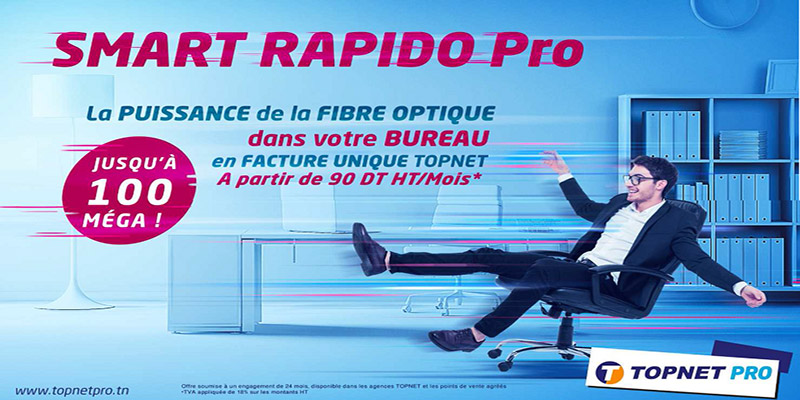 Topnet lance le Smart Rapido PRO :  Le très haut débit jusqu'à 100 Méga pour les professionnels en facture unique Topnet