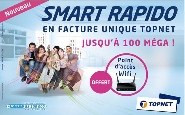 Topnet lance le SMART RAPIDO :  Le très Haut Débit jusqu'à 100 Méga en facture unique Topnet