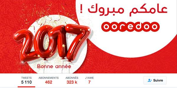 Ooredoo souhaite la bonne année aux marques et à ses concurents sur Twitter