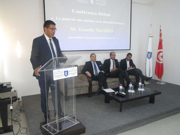 Conférence de Taoufik Mjaied sur le pouvoir des médias àl'Université Européenne