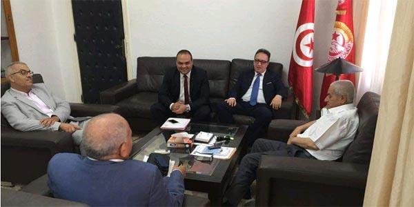 Houcine Abbassi reçoit Hafedh Caïd Essebssi