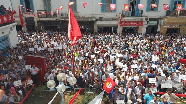 Mobilisation à la place Med Ali contre la prolongation du départ à la retraite