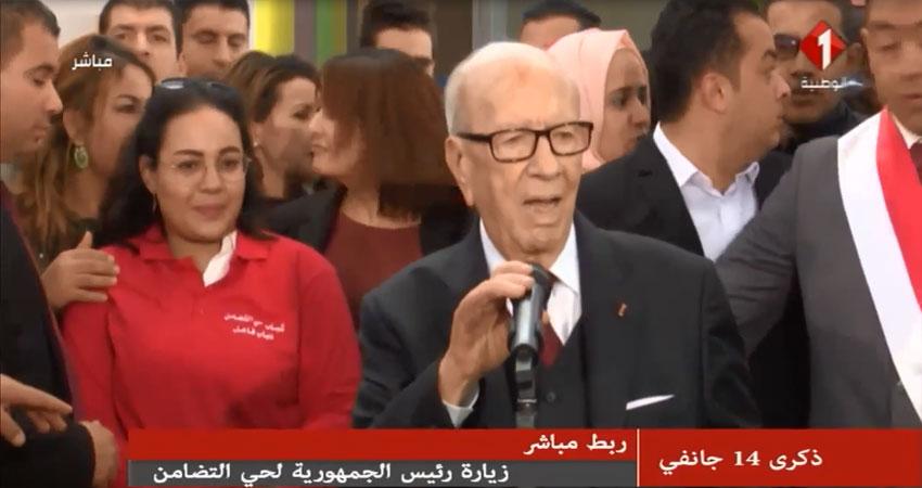 بالفيديو..كلمة رئيس الجمهورية من حي التضامن في ذكرى ثورة 14 جانفي
